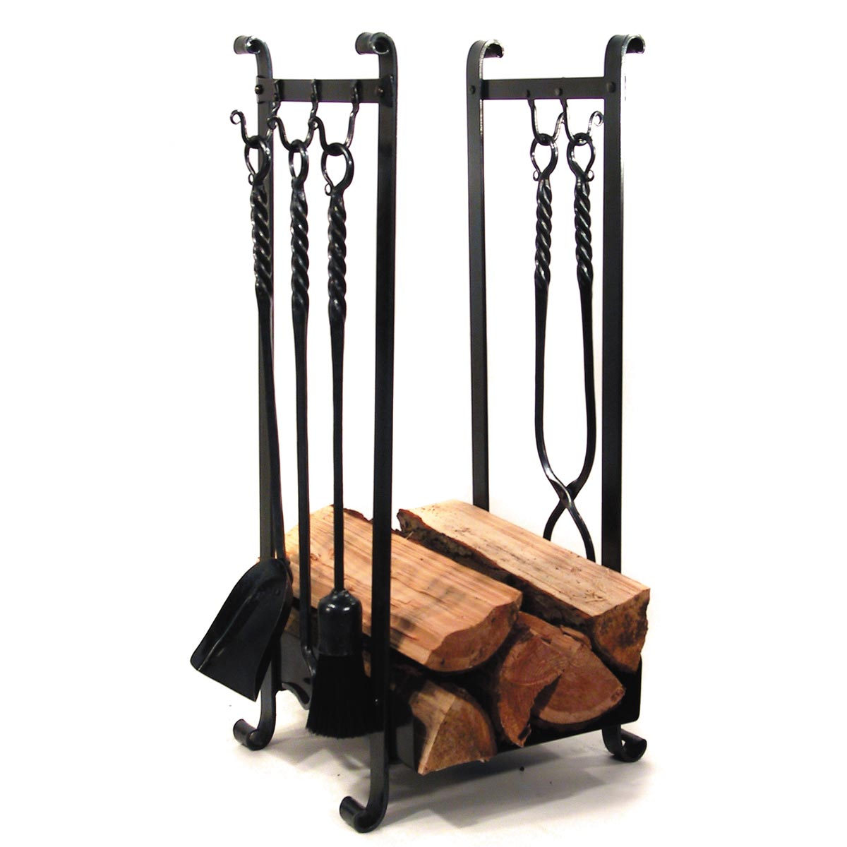 Log Holder With 5 Hooks Wrought Iron Home Accessories